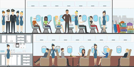 People in airplane. Aircraft transport interior. vector