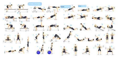Workout man set. Male doing fitness and yoga exercises. Lunges and squats, plank and abc. Full body workout. Illustration