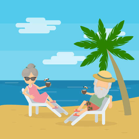 couple together: vector illustration of senior couple enjoying their retirement at the beach