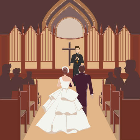 wedding ceremony inside church with monk. vector