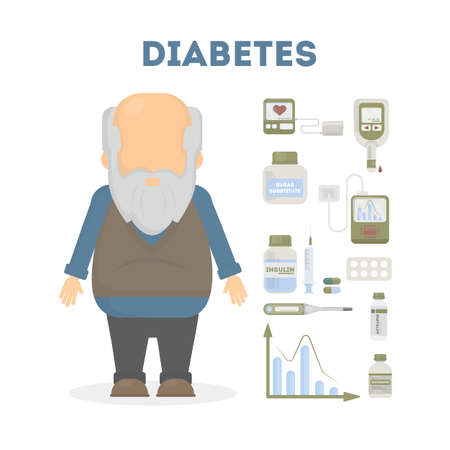 old man standing: Diabetes infographic set. old Man with equipment standing on white background. Illustration