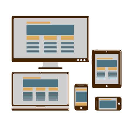shrink: Responsive design for web- computer screen, smartphone, tablet icons set