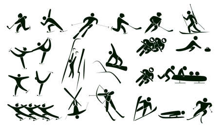 Set of winter sport icons vector illustration