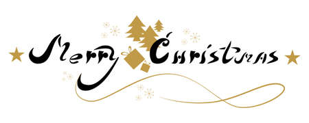 Merry Christmas poster. Beautiful lettering art for decoration.