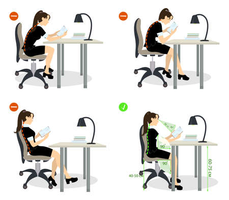 girl Sitting posture set. Right and wrong positions. Healthy lifestyle.