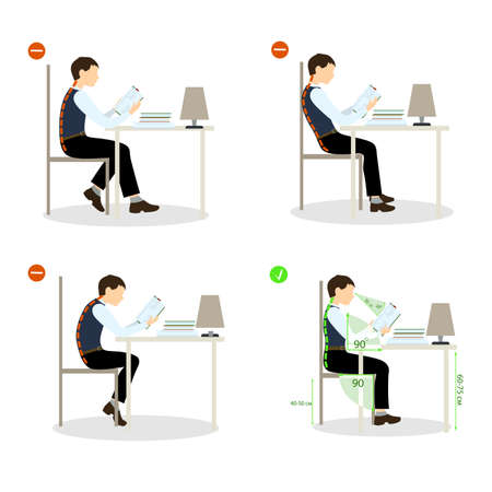 positions: boy Sitting posture set. Right and wrong positions. Healthy lifestyle. Illustration