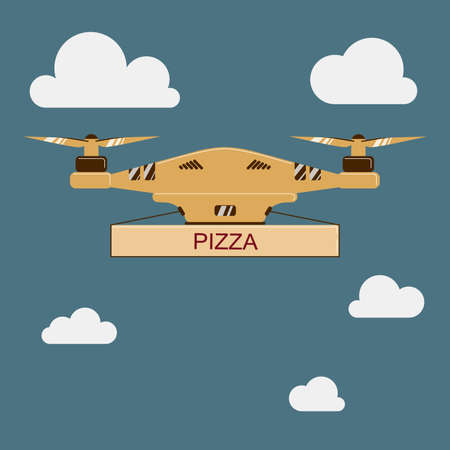 drone quadcopter Pizza delivery vector illustration. flat