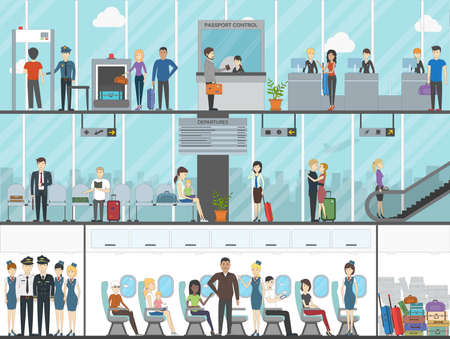 Airport terminal set. Business travel, vacation, tourism. Boarding passengers with luggage and tickets. Sitting in the plane. Illustration