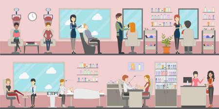 establece un salón de belleza. Peluquería y manicura, spa y maquillaje. Salón de belleza para las mujeres. Interior rosado. Ilustración de vector