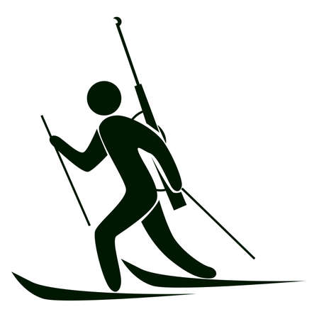 Isolated biathlon icon. Black figure of an athlet on white background. Person with ski and rifle. Illustration