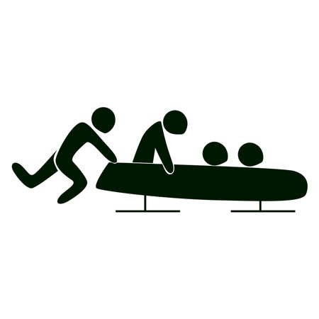 bobsled: Isolated bobsleigh icon. Black figure of athlets on white background. Team with the bob. Illustration