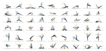Joga pozuje seton białego tło. Relaksuj się i medytuj. Zdrowy tryb życia. Trening równowagi.