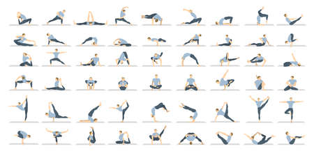 asanas: Yoga poses seton white background. Relax and meditate. Healthy lifestyle. Balance training.