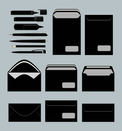 blanks: Black stationary set. Envelopes and blanks and documents. Office papers. Illustration