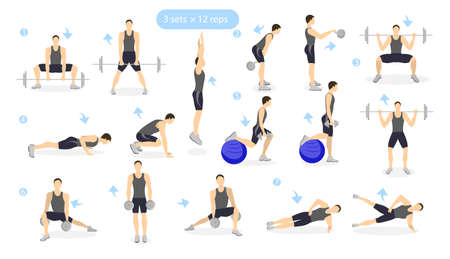 cardio workout: Leg workout set on white background. Man showing exercises. Cardio and weights.