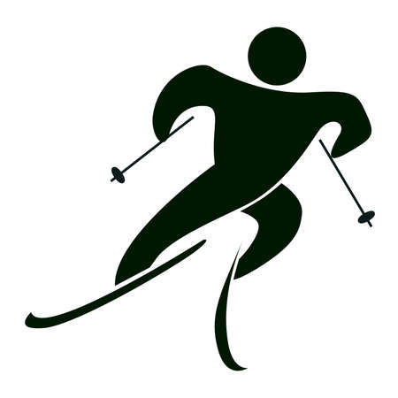 x games: Isolated ski icon on white. Black figure of an athlet on white background. Person with sticks and ski. Illustration