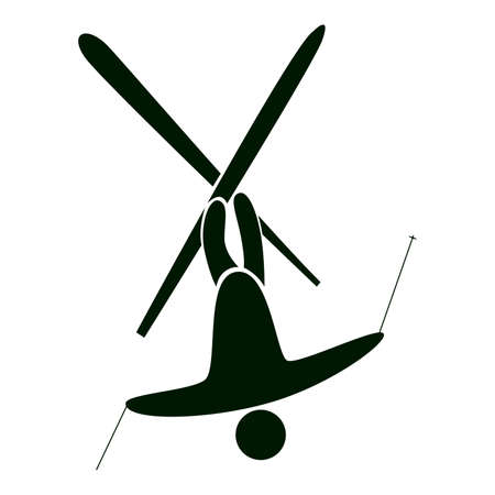Isolated ski icon on white. Black figure of an athlet on white background. Person with sticks and ski. Extreme sport. Illustration