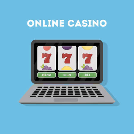 bet: Online casino in the laptop. Device with gambling game. Gaming addiction.
