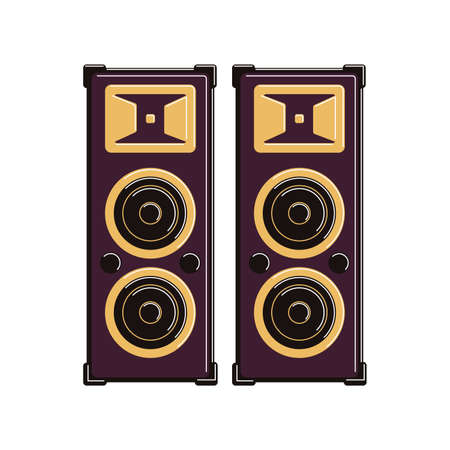 Isolated music speakers on white background. Musical equipment for festival, concert and studio.