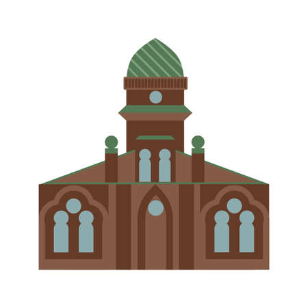 Isolated jewish synagogue on white background. Israel architecture and culture. Judaism religion. Illustration