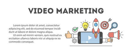 video icons: Video marketing concept poster. Digital design. Social network and media communication.