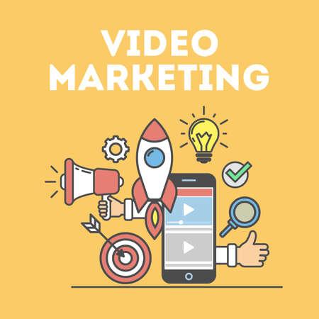 Video marketing concept. Digital design. Social network and media communication. Ilustrace