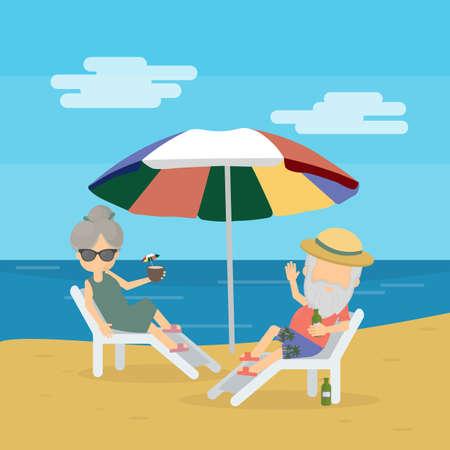 長老は休暇でリラックス。退職後の人のための旅。幸せなおじいちゃんとおばあちゃん。ビーチで横になっています。  イラスト・ベクター素材