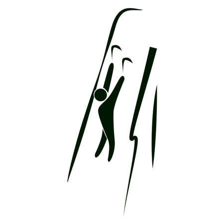 Isolated climbing icon. Black figure of an athlet on white background. Person on the rock with climbers.