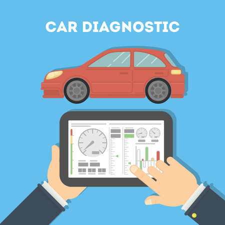 Car diagnostic with tablet. Hands holding tablet and testing car. Analyzing and monitoring the car.