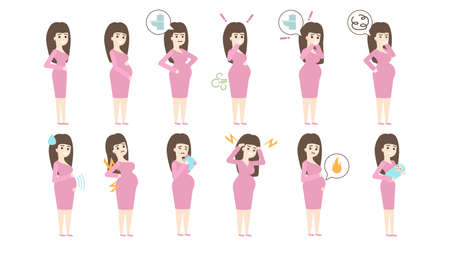 Pregnancy symptoms set on white background. Sickness and vomiting, stomachache and burping. Ilustração