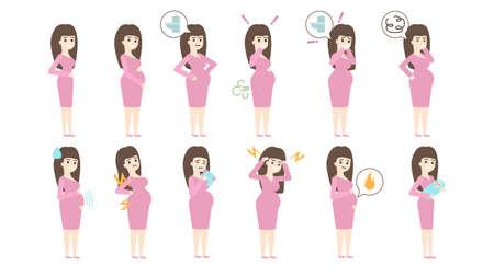 Schwangerschaft Symptome auf weißem Hintergrund. Krankheit und Erbrechen, Magenschmerzen und Aufstoßen.
