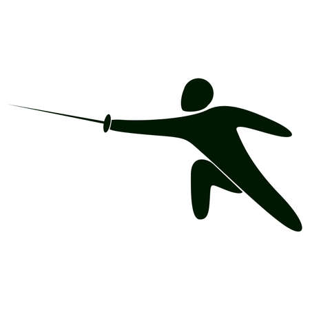Isolated fencing icon. Black figure of an athlet on white background. Person with foil.