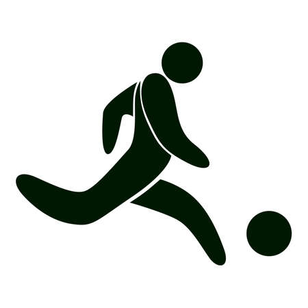 Isolated football icon. Black figure of an athlet on white background. Person with ball. Soccer player.