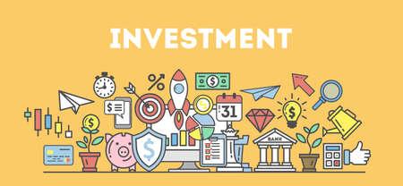 Illustrazione di concetto di investimento. Idea di successo e di mercato, pianificazione e strategia.