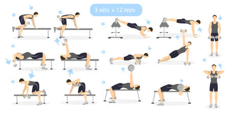 cardio workout: Gym workout set on white background. Man showing exercises. Cardio and weights. Dumbbels. Illustration