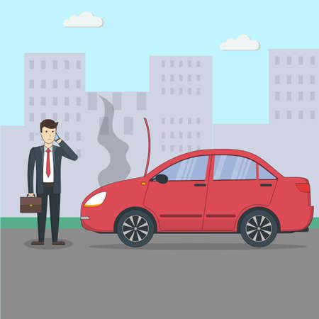Businessman with broken car. Car accidenton the street. Transport with motor defect. Ilustracja