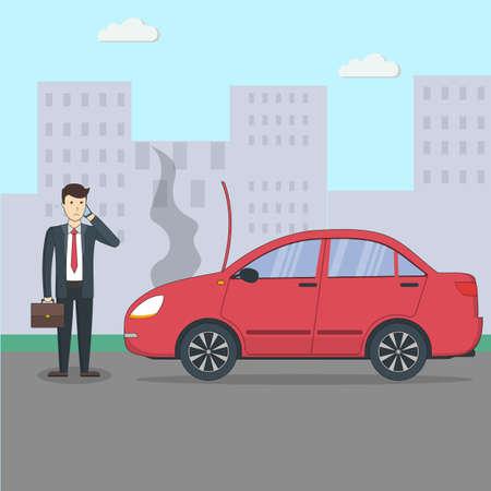 Zakenman met gebroken auto. Car accidenton de straat. Transport met motor defect.