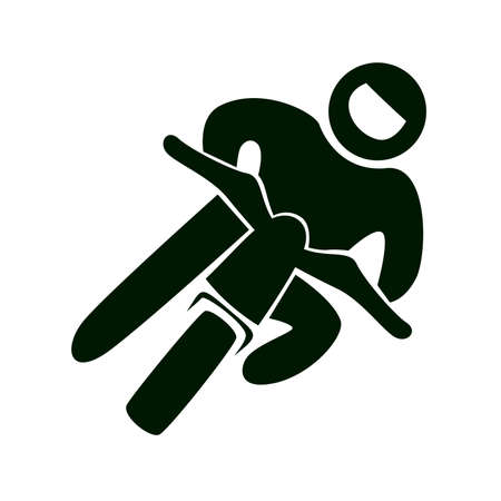 Isolated racing icon. Motorcycle racing. Black figure of an athlet on white background. Vector Illustration