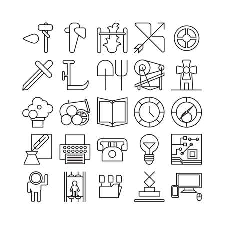inventions: Inventions and technology icons set. New discovery. Technologies development. Illustration
