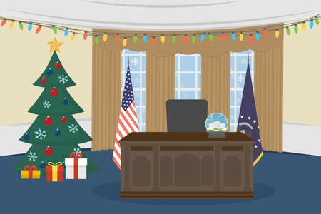 congressman: Oval Office in the White House with christmas tree.