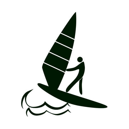 Isolated sailing icon. Black figure of an athlet on white background. Person with a boat.