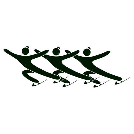 synchronized: Isolated skating icon. Synchronized skating. Black figures of athlets on white background.