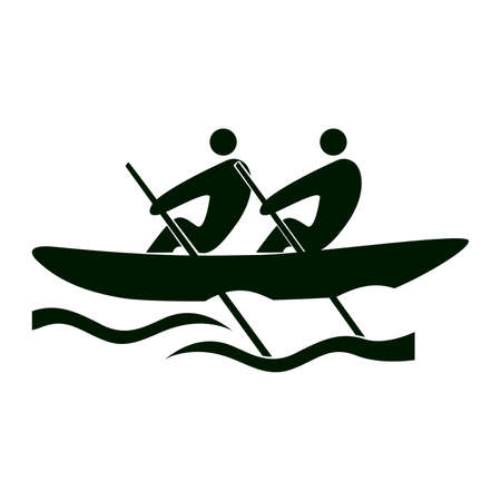 Isolated rowing icon. Black figures of athlets on white background. People in a boat. Illustration