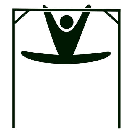 pommel: Isolated gymnastics icon. Black figure of an athlet on white background. Person with gymnastic apparatus. Illustration