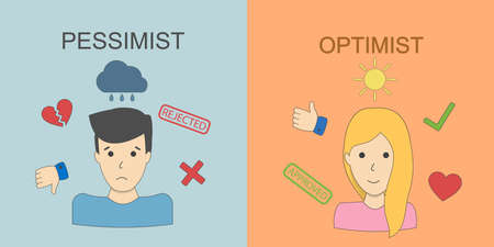 pessimist: Optimist and pessimist concept. Two points of view. Happiness and sadness. Upset man and joyful woman. Illustration