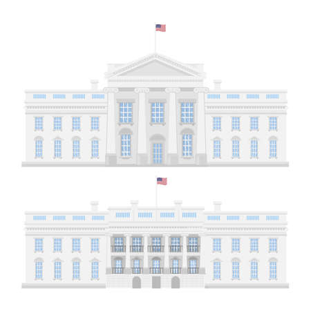congress: The White House on white background. American government.