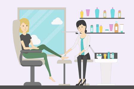 Pedicure in the salon. Beauty treatment. Pedicurist makes pedicure for a woman. Beauty salon. Spa therapy. Illustration