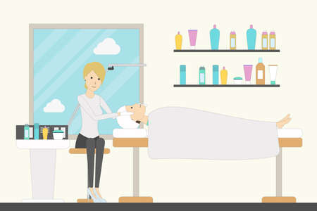 beauty treatment: Spa in the salon. Spa therapist makes facial mask for a woman. Beauty treatment. Illustration