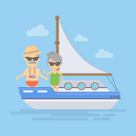 cruising: Retired couple cruising in the ocean, sea or lake on the boat. Tourism and vacation for elderly.