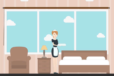 carpet cleaning service design: Hotel room service with room maid. Contemporary design. Hotel bedroom with bed, chair, lamp and window.